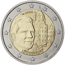 luxembourg 2 euro coin chateau de berg 2008 euro coins. Black Bedroom Furniture Sets. Home Design Ideas