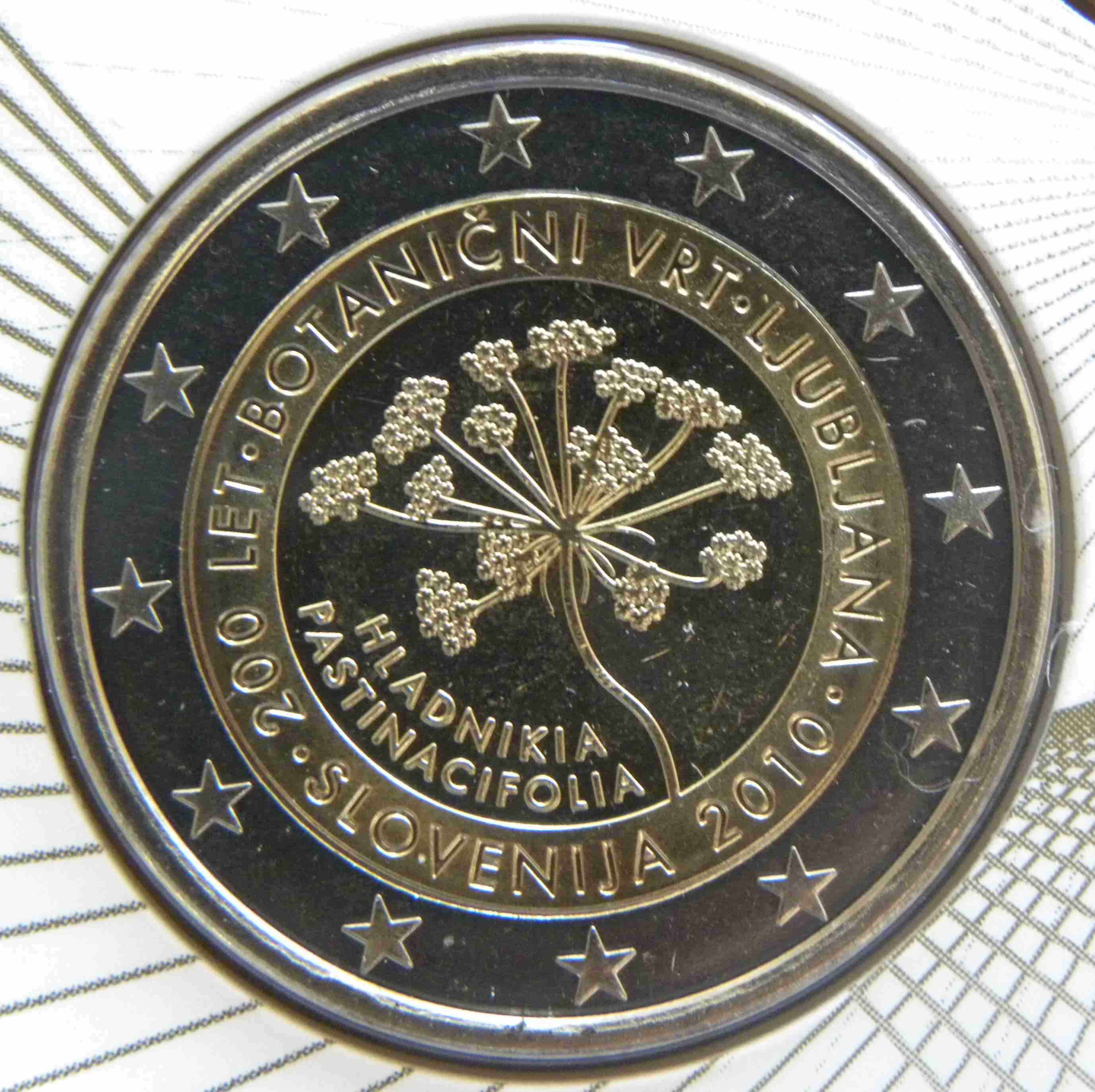 slovenia 2 euro coin 200 years ljubljana botanical gardens 2010 euro the online. Black Bedroom Furniture Sets. Home Design Ideas