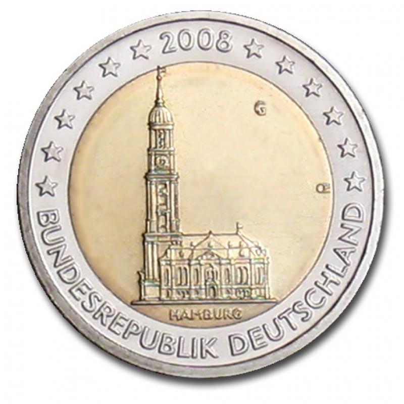 Deutschland 2 Euro Münze 2008 Hamburg Hamburger Michel G