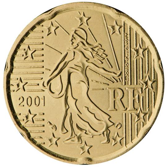 Frankreich 20 Cent Münze 2001 Euro Muenzentv Der Online