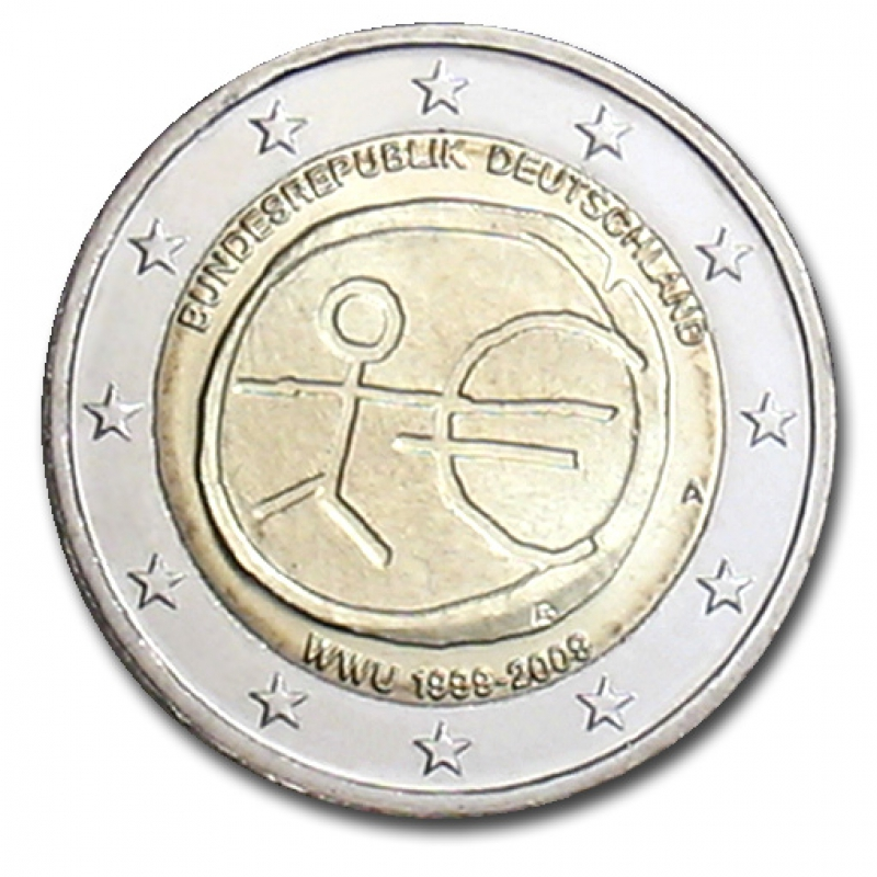 germany 2 euro coin 2009 10 years euro wwu a. Black Bedroom Furniture Sets. Home Design Ideas
