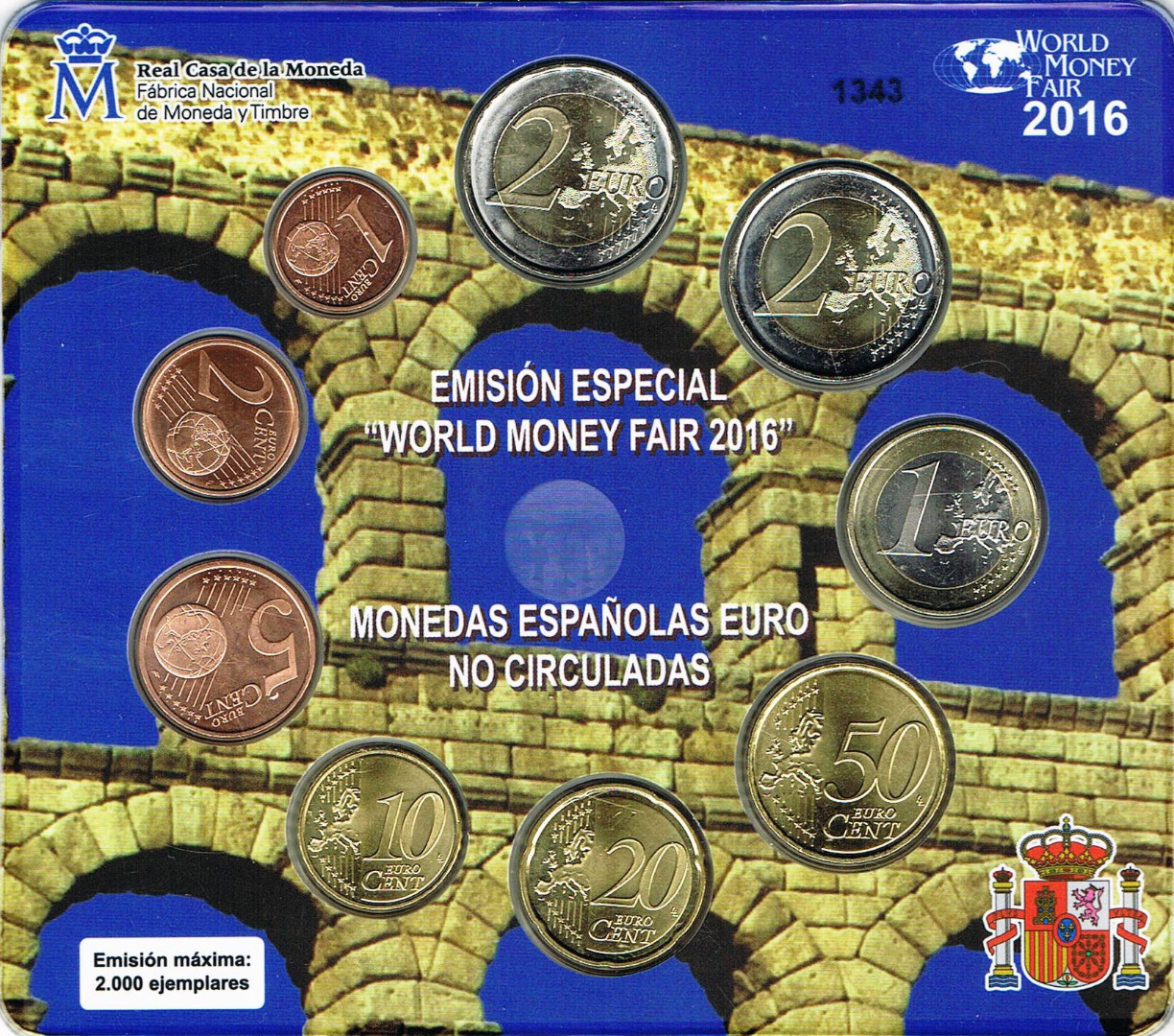Spanien Euro Münzen Kursmünzensatz World Money Fair Berlin 2016