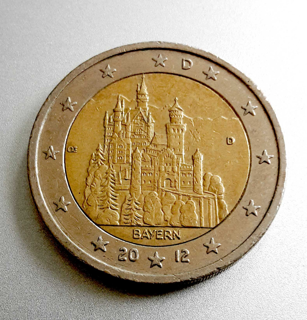 Germany 2 Euro Coin 2012 Bavaria Neuschwanstein Castle D