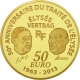 France 50 Euro Gold Coin - Europa Series - 50th Anniversary of the Élysée Treaty 2013 - © NumisCorner.com