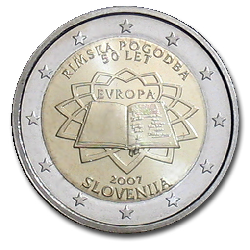 slovenia 2 euro coin 50 years treaty of rome 2007 euro the online eurocoins catalogue. Black Bedroom Furniture Sets. Home Design Ideas